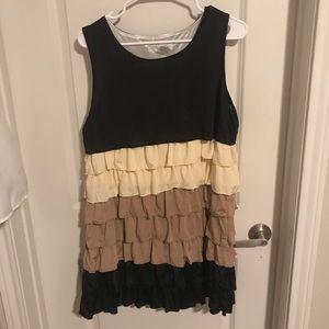 Brown, cream and black ruffle dress